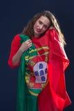 有葡萄牙的旗子的美丽的妇女 图库摄影