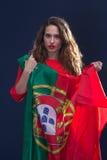 有葡萄牙的旗子的美丽的妇女 免版税库存照片