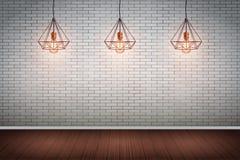 有葡萄酒导线吊灯的砖墙室 免版税库存照片
