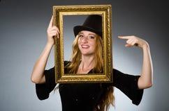 有葡萄酒帽子的妇女 图库摄影
