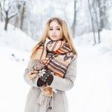 有葡萄酒的美丽的妇女编织了站立在一个冬天的围巾 库存照片