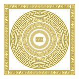 有葡萄酒金黄希腊装饰品河曲样式希腊艺术的传染媒介集合带状装饰 免版税库存照片