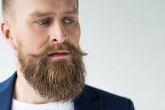 有葡萄酒髭和胡子的人 库存图片