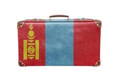 有蒙古旗子的葡萄酒手提箱 库存图片