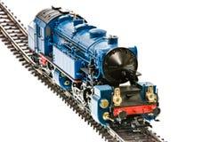 有蒸汽引擎机车的玩具火车 免版税库存照片