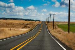 有蓝天和金黄绿草的五颜六色的乡下公路 库存图片