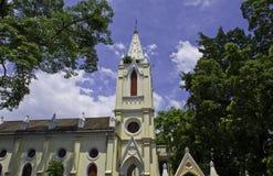 有蓝天的一个小教会在广州 库存图片
