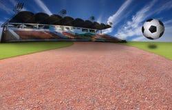 有蓝天的足球橄榄球和体育场 免版税库存照片