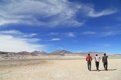 有蓝天的阿塔卡马沙漠 免版税库存图片