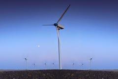 有蓝天的风轮机农场 免版税图库摄影