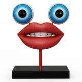有蓝眼睛的小雕象嘴唇 免版税库存图片
