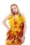 有蓝眼睛的美丽的金发碧眼的女人在叶子礼服  免版税库存图片