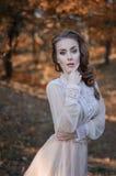 有蓝眼睛的美丽的年轻红发女孩在站立在背景秋天树的一个森林里的一件柔和的礼服 库存图片