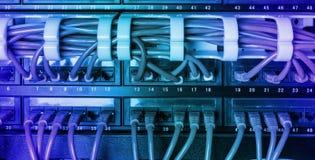 有蓝色互联网插接线的服务器机架缚住 免版税库存图片