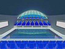 有蓝色位子的室内奥林匹克游泳池竞技场 库存照片