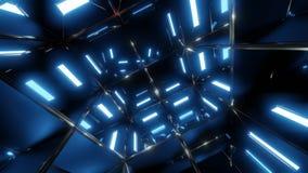 有蓝色光和无缝使成环的转动的反射室 皇族释放例证