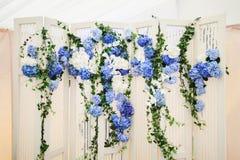 有蓝色八仙花属的白色照片摊 免版税库存照片