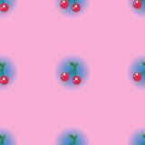 有蓝色圈子梯度的无缝的样式樱桃叶子在柔和的淡色彩 库存照片