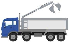 有蓝色客舱的桶卡车 免版税库存照片