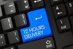 有蓝色按钮的- 12个小时键盘交付 库存图片