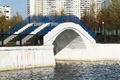 有蓝色栏杆的桥梁横跨池塘 库存照片