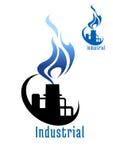 有蓝色气体火焰的工厂设备 免版税库存照片