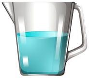 有蓝色液体的玻璃烧杯 免版税图库摄影