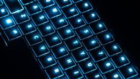 有蓝色焕发的未来派键盘 免版税库存图片