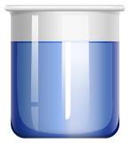 有蓝色物质的烧杯 库存图片