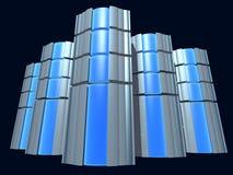 有蓝色玻璃的服务器 免版税库存照片