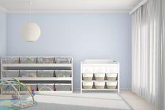 有蓝色的玩具的儿童居室 免版税库存照片