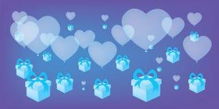 有蓝色礼物盒的飞行的心形的气球导航背景 库存照片