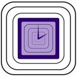 有蓝色箭头的蓝色方形的时钟和黑看起来象金属环绕了正方形  免版税图库摄影
