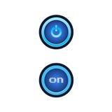 有蓝色背后照明的按钮 免版税图库摄影