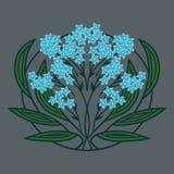 有蓝色花的一棵风格化植物 免版税库存图片