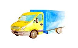 有蓝色身体的水彩中等卡车和在被隔绝的白色背景的黄色客舱 向量例证