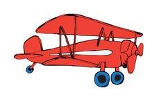 有蓝色轮子的被隔绝的红色飞机 例证 免版税库存照片