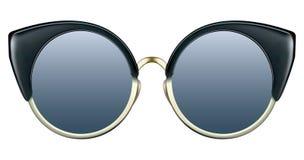 有蓝色透镜和金金属框架的太阳镜 免版税库存照片
