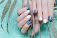 有蓝色钉子设计的女性手 免版税库存照片