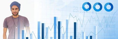 有蓝色财务图表转折的千福年的人 免版税库存图片