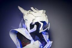 有蓝色LED光和塑料材料的利用仿生学的装甲 免版税库存图片