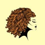 有蓬松卷发卷曲发型和典雅的构成的美丽的妇女 向量例证