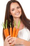 有蔬菜的妇女 库存照片