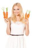 有蔬菜的妇女 免版税图库摄影