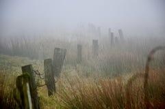 有薄雾停泊在黎明靠近Hebden桥梁 免版税库存照片