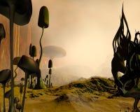 有薄雾外籍沙漠的横向 图库摄影