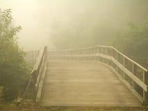 有薄雾的人行桥 免版税库存照片