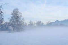 有薄雾的冬天日落II 图库摄影
