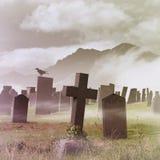 有薄雾的坟园 库存图片