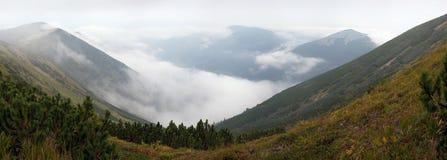 有薄雾的山景 免版税图库摄影